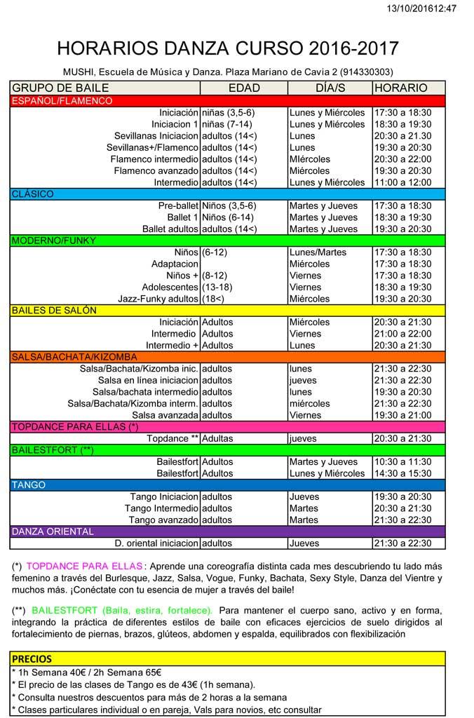 Horarios y grupos Danza Curso 2016 - 2017
