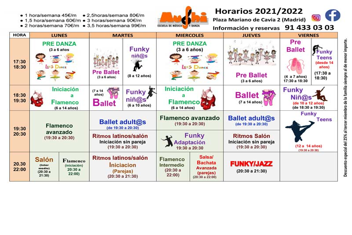 Horarios de grupos de clases de danza y baile - Curso 2020 - 2021