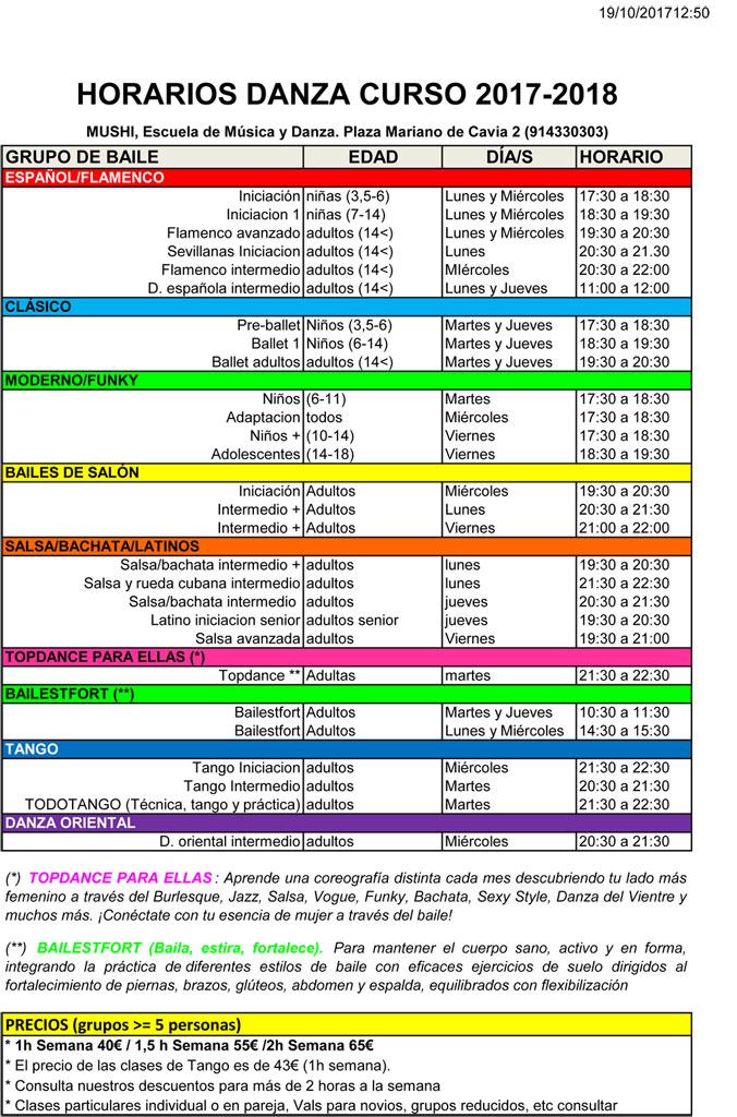Horarios y grupos Danza Curso 2017 - 2018
